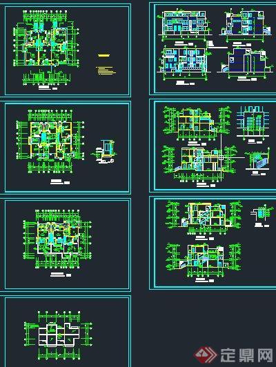 现代某三层联排平房住宅建筑设计CAD方案图(2)