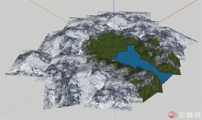 某山体集合设计su模型(1)