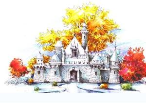 園林景觀馬克筆彩鉛表現JPG圖片