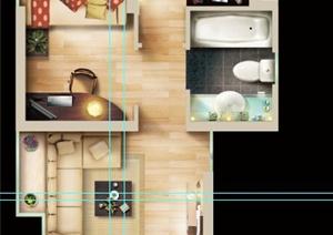 某一室一厅住宅空间设计PSD彩平图
