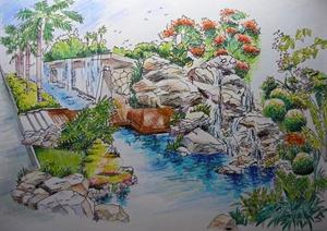 园林景观手绘粉彩效果图jpg格式文本(含建筑粉彩绘画)