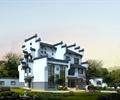 別墅建筑,多層別墅,古典中式別墅,草坪,景觀樹,景石,庭院燈