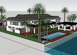 某美式别墅住宅景观楼前楼后庭院景观设计SU(草图大师)模型