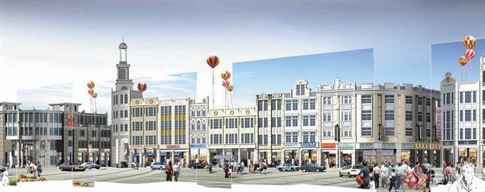 商业建筑,多层商业,商铺,道路,地面铺装,花钵