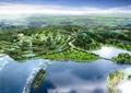 滨水景观,景观树,草坪,山体景观