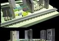 办公建筑,综合建筑,道路,景观树
