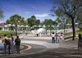 公园景观,地面铺装,水池水景,喷泉水池,雕塑小品