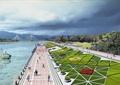 濱水景觀,沿河觀光帶,草坪景觀,濱河大道