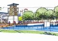 景观塔,水体景观,景观树,商业建筑,商业环境