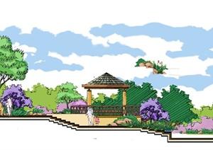 小区景观剖面图(分层PSD)