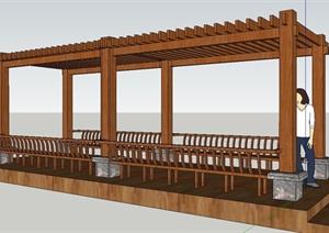 景观节点木质长方形廊架设计SU(草图大师)模型