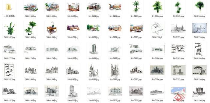 手绘建筑方案图jpg格式(含室内手绘、手绘植物)(6)