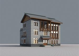 某三层中式别墅建筑设计3DMAX模型