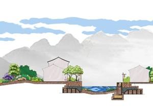河岸景观剖面图psd格式