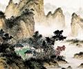 山水景观,水墨画,民居,山体