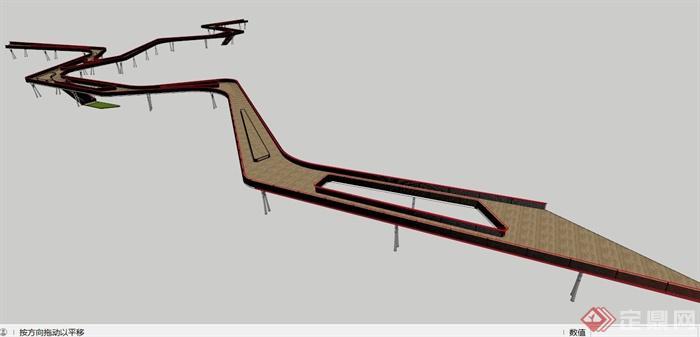 现代空中栈道设计su模型(4)