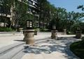 园路,景观柱,台阶,草坪,地面铺装,住宅景观