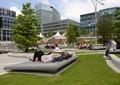 石平臺,草坪,矮墻,坐凳,景觀樹,張拉膜,公共空間景觀