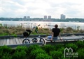 园路,坐凳,草坪,地面铺装,滨水景观
