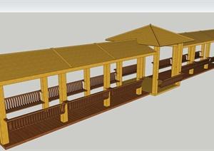 现代中式木制景观廊设计SU(草图大师)模型