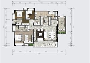 某四室两厅别墅住宅空间设计PSD图