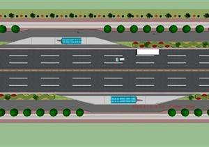 学生作业道路与公交停靠站绿化景观设计SU(草图大师)模型、cad图纸