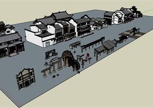 古典中式沿街商铺、牌坊、景墙、长廊SU(草图大师)模型