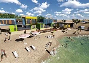 现代某多层海边集装箱式别墅建筑设计文本