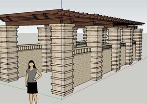 东南亚风格石廊架设计SU(草图大师)模型
