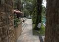 园路,地面铺装,矮墙,标示牌,草坪,景观树,台阶