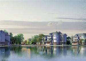 某多层坡屋顶水景别墅建筑设计PSD效果图