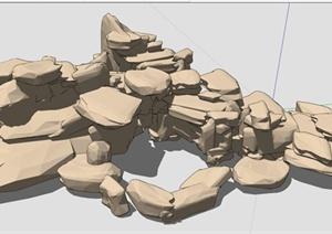 假山石头景石SU(草图大师)模型