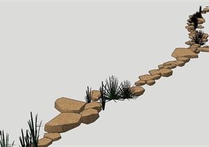 某河道自然石头景观设计SU(草图大师)模型