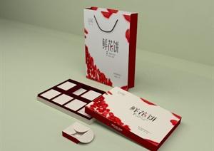 鲜花饼包装设计CAD方案图+JPG效果图+PSD图+3DMAX模型