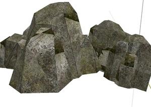 假山石头设计SU(草图大师)模型