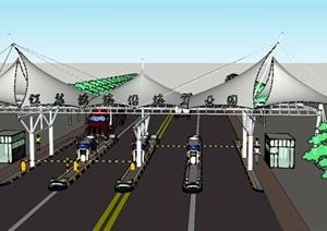 现代某高速公路收费站张拉膜设计SU(草图大师)模型