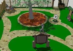 某住宅小庭院景观SU(草图大师)设计模型