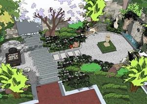 现代庭院花园SU(草图大师)模型设计