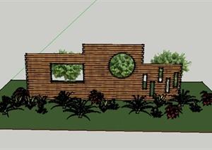 中式小区景观透景景观墙设计CAD方案图+PSD效果图