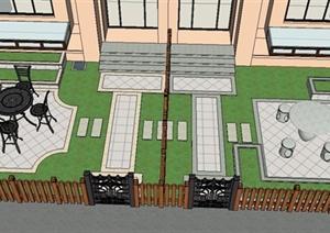 某两栋住宅建筑庭院景观设计SU(草图大师)模型