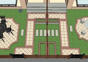 某双拼住宅庭院景观设计SU(草图大师)模型