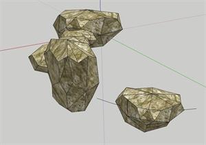 一组石头设计SU(草图大师)模型