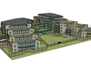 某山地住宅楼建筑设计SU(草图大师)模型
