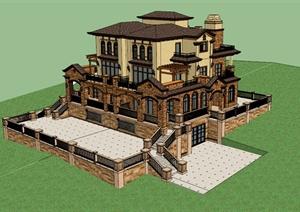 某欧式精致别墅建筑设计SU(草图大师)模型