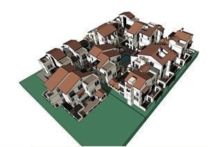 某混搭风格别墅建筑设计SU(草图大师)模型