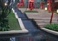 台阶水景,台阶,树池,景观树,草坪,住宅景观