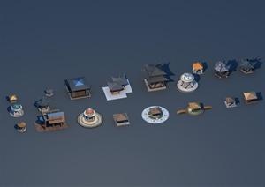 多个古典中式、欧式亭子设计3d模型