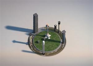 某城市广场景观柱设计SU(草图大师)模型
