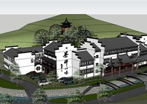 禅茶院寺院建筑设计SU(草图大师)模型