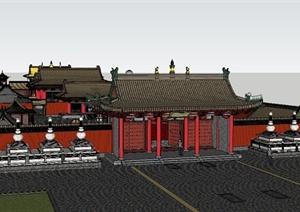 古典中式文化古建筑设计SU(草图大师)模型